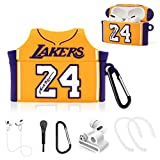 TOLUOHU Airpods Pro Case, 6 in 1 Accessories Set Protective Cover, Cute 3D Cartoon Cool Basketball Star No.24 Jersey Design Silicone Cover Compatible with Airpods Pro -with Accessories (No.24-Yellow)