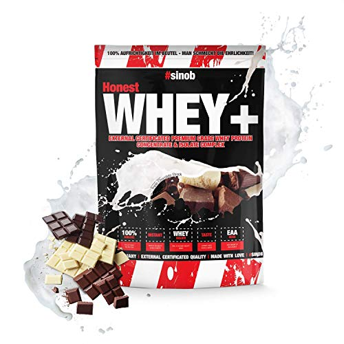 sinob Honest Whey Protein - Triple Chocolate Shock - 1 x 1000 g. 12,5% Isolate Anteil. Instant lösliches Eiweißpulver mit BCAA & EAA 'Hergestellt in Deutschland'