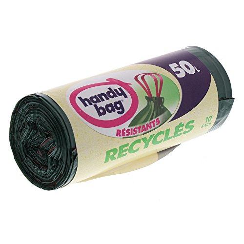 Handy bag - Bolsas de basura con el desplazamiento de asas reciclado 50 l 68 x 73 cm, 10 Unidades