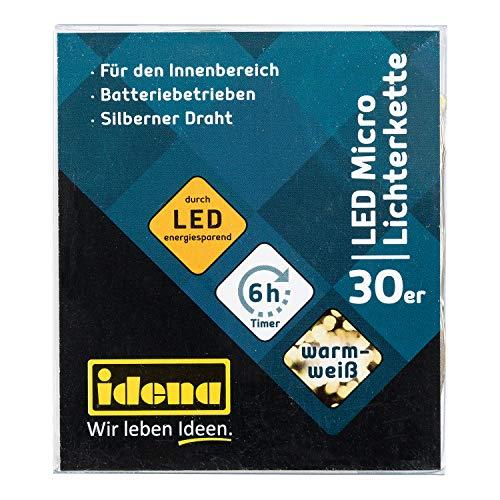 Idena 31824 LED Micro Lichterkette mit 30 LED in warm weiß, mit 6 Stunden Timer Funktion, Batterie betrieben, für Partys, Weihnachten, Deko, Hochzeit, als Stimmungslicht, ca. 3,2 m