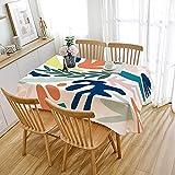 Mantel Abstracto de Estilo nórdico, Cubierta de Mesa Rectangular Impermeable, Adecuado para Cocina, Sala de Estar, Comedor M-5 140x160cm