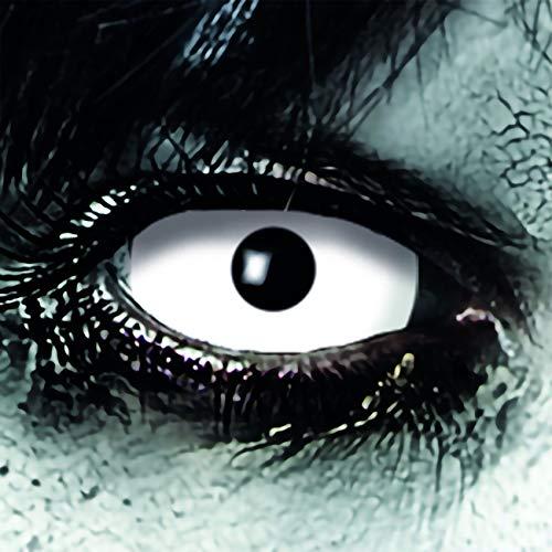 KOH-Funlinsen White Zombie Sclera-Markenqualität- 1 PAAR-D-22mm-weiß Linsen,Cosplay, Larp, Zombie, Kontaktlinsen, Crazy Funlinsen, Halloween, Fastnacht,Vampir