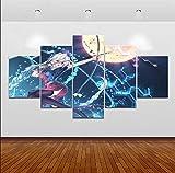YOPLLL Tableaux Impressions sur Toile Peinture sur Toile 5 Parties Tableau Pièces Décoration Murale Chambre Chevet Décor Maison Créatif Cadeau Catéchisme Hitman Animation 150X80Cm Frameless