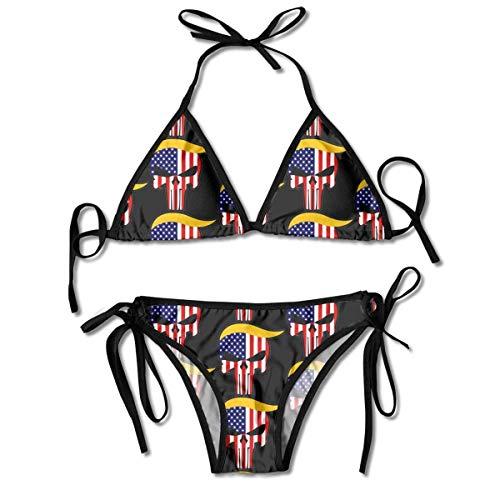 dilidy 2020 Trump Skull Us Flag Bedruckte Damen-Bikini-Sets, Triangle Swimwear Beach Badeanzug