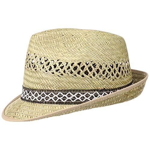 Unbekannt Hutshopping Erntehelfer Strohhut (Sonnenschutz) für Damen und Herren, cooler und modischer Sonnenhut im Trilby Look für den Sommer am Strand oder im Urlaub, Größe 55, Farbe natur