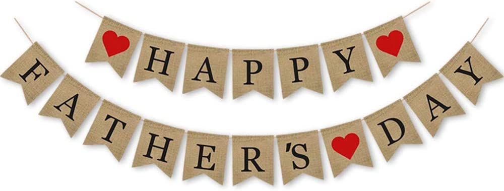 Happy Fathers Fashion Day Sale Burlap Decor Banner