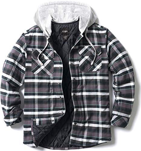CQR Mens Hooded Quilted Lined Flannel Shirt Jacket Long Sleeve Plaid Button Up Jackets Quilted Linedhok720 Charcoal Plaid XL