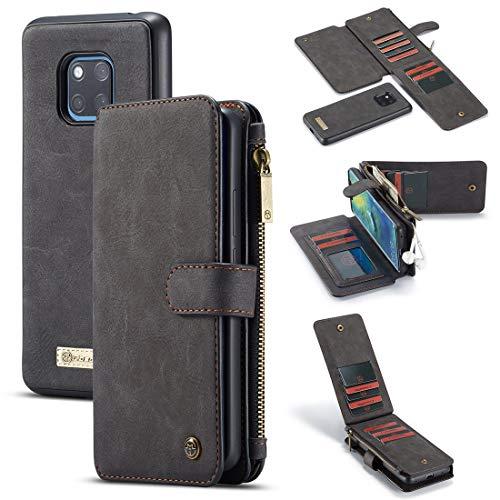 YANCAI Funda Protectora Monedero para Huawei Mate20 Pro 2 en 1 Cremallera de Cuero Magnético Desmontable 14 Tarjetas, Bolsa de Embrague Funda de Cuero (Color : Black)