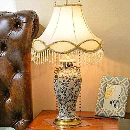 HYLK Lámpara de Mesa de cerámica 36 * 62 cm Europeo Retro Pastoral Pintado a Mano alzada Dormitorio mesita de Noche Sala de Estar lámpara de Escritorio