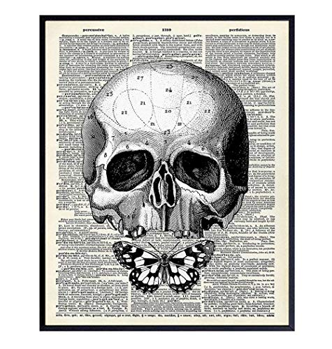 Gothic Skull Wall Art - Skull Wall Decor - Goth Wall Art Room Decor - Goth Butterfly - Gothic Living Room Decor - Gothic Home Decor - Gothic Wall Art Decorations - Pagan Gifts - Wicca Decor