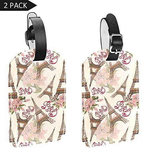 Gepäckanhänger aus PU-Leder mit Sichtschutz auf der Rückseite, romantischer Paris, Eiffelturm, 2 Stück