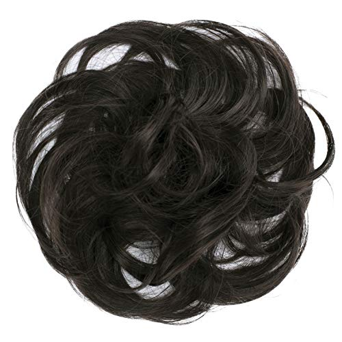 PRETTYSHOP Scrunchie Bun Up Do Hair piece Hair Ribbon Ponytail Extensions Wavy Curly or Messy Various Colors(dark brown chocolate 6)