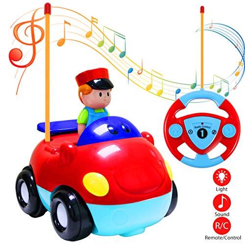 Joylink Coches Teledirigidos, Coches RC Radio Control Remoto Coche Tren con Música y Luces para Bebés Niños (Red)
