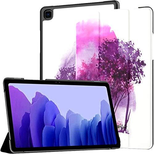 Funda para Tableta Samsung A7, Rosa, púrpura, Silueta de árboles contra el Fondo, Funda para Samsung Galaxy Tab A7, 10,4 Pulgadas, Funda Protectora de liberación 2020, Funda Protectora para Samsung G