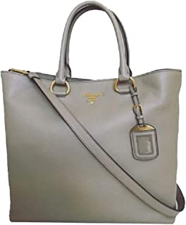 Women's Gray Vitello Phenix Shopping Tote Top Handle Bag Shoulder Bag 1BG865