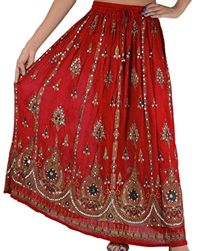 OMA Women's Indian Sequined Broomstick Hippy Gypsy Bohemian Long Skirt - Premium Quality Brand (Red)