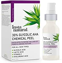 Glycolic Acid 30% AHA Chemical Peel - Blackhead, Dark Spot & Acne Scar Removal & Treatment for Face - AHA Peeling Solution, Professional at Home Facial Exfoliant - Lactic Acid & Vitamin C - 1 oz