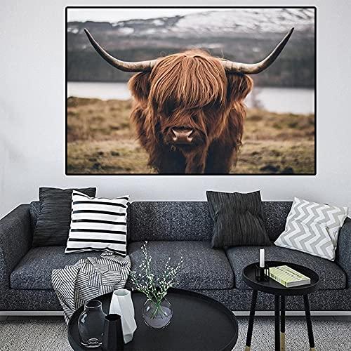 Bilder wandbilder Leinwandbild Schlafzimmer deko|58x90cm|Kein Rahmen Highland Cow Wild Animals Cattle Poster und Print Nordic Wall Art Picture