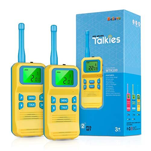 Selieve Juguetes para Niños de 3-8 Años, Walkie Talkie para Niños 8 Canales LCD Pantalla VOX Larga Distancia 3KM,Regalos para Niños o Niñas de 3 a12 Años