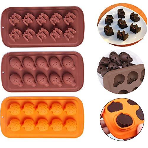 YingBiao Halloween Chocolate Silicona Fondant Moldes Calavera Murciélago Calabaza Dulces Galletas Jabón...