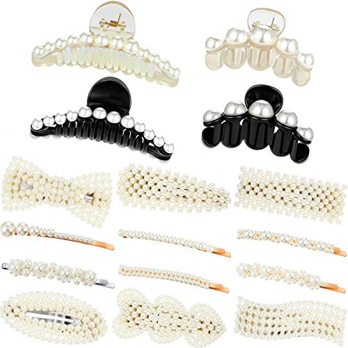 16 Pieces Pearl Hair Accessories Set, 4 Pieces Artificial Pearl Hair Claw Clips Plastic Hair Catch Hair Claws and 12 Pieces Pearl Hair Clips Artificial Pearl Hair Barrettes for Party Wedding Daily