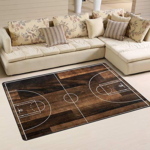 Antigua pista de baloncesto alfombra antideslizante alfombra de piso felpudo sala de estar comedor dormitorio dormitorio 152 x 99 cm decoración del hogar