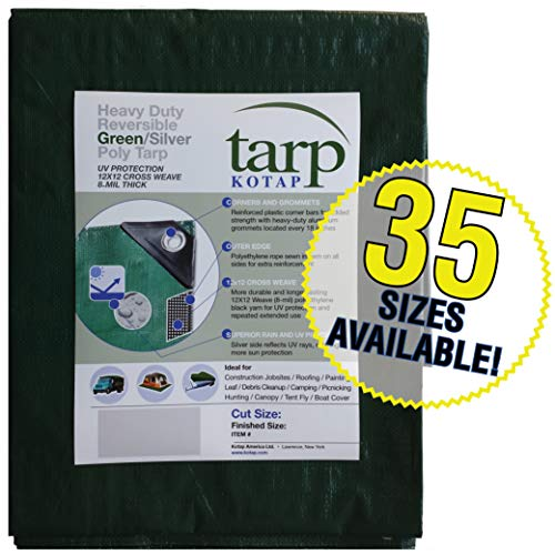 Kotap 15-ft x 25-ft Heavy-Duty 12 by 12 Cross Weave 8-mil Reversible Green/Silver Poly Tarp, Item: TGS-1525