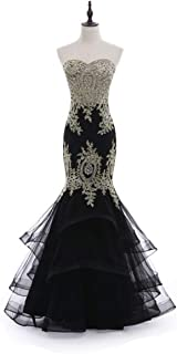 Linabridal Women's Mermaid Long Evening Dress Sweetheart Formal Prom Dresses with Crystals Embroidery