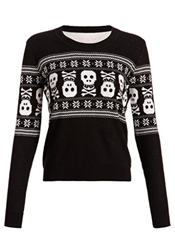 Pretty Attitude Womens Holiday Inspired Skull Ugly Christmas Sweater – Size X-Large Black