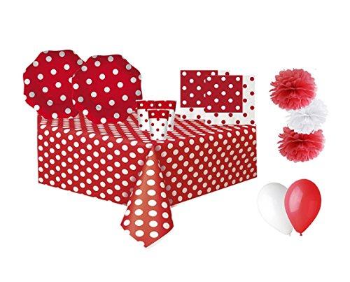 Big Party kit n.49 pois rosso coordinato tavola