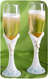 Fashioncraft 2416 Finishing Touches Collection Beach Themed Champagne Flutes, One Size, White