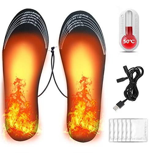 Hook Beheizbare Einlegesohlen, Wärmesohlen, Heated Insoles, Schuhheizung Elektrisch, Fußwärmer Sohlen Sohlenwärmer Wiederverwendbar Fusswärmer Einlagen mit USB, 6 pcs Handwärmer