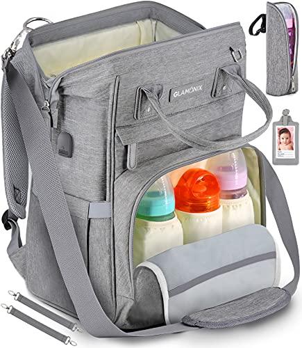 GLAMONIX Zaino Mamma Multifunzione, Fasciatoio Portatile, Mommy Bag Impermeabile con Tasche Multiple isolanti Bottiglia e Ganci rinforzati per Passeggino - Grigio
