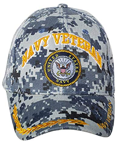 USA Navy Veteran Baseball Style Embroidered HAT Blue camo Cap Vet us Naval