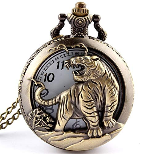 Bronce Tigre Hueco Cuarzo Bolsillo Reloj Collar Colgante Mujer Hombres Regalos para el Esposo en el Aniversario (Color : Show as The Picture)