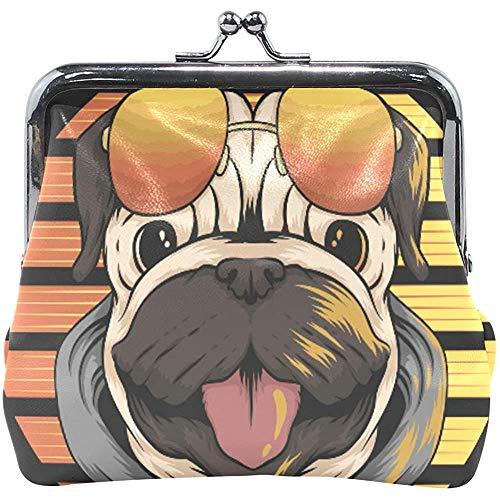 Portefeuille creatieve grappige mops hond met zonnebril munt portemonnee tassen leer wisselhouder kaart clutch handtas