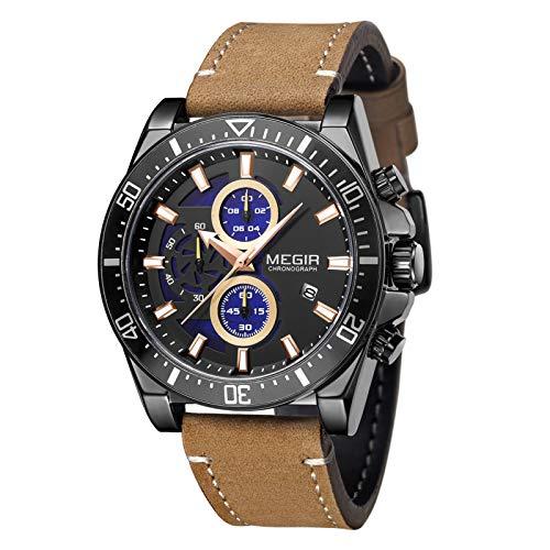 Flytise Reloj de Cuarzo para Hombre Reloj de Pulsera cronógrafo analógico con Calendario 3ATM Reloj Informal de Moda con Esfera Luminosa Resistente al Agua