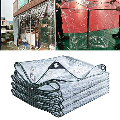 Tarpaulin,0.3 Mm Thick PVC Plastic Film Waterproof Dust-proof Outdoor Furniture Set with Metal Holes Easy to Hang,customizable (Color : Clear, Size : 4x8m)