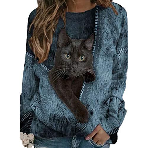 Frolada Sudadera De Manga Larga, Jersey, Camiseta Para Gatos, Blusa Suelta Para Mujer, Blusa Holgada Con Cuello Redondo, Estampado De Gatos, Informal Para Amantes De Los Gatos Azul 4XL