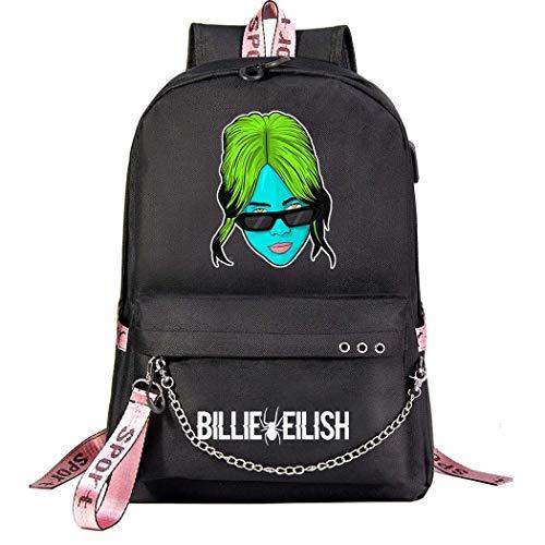AFHB Billie Eilish Korean USB Youth Student Schoolbag Hombres y Mujeres Mochila de Viaje de Ocio Bolsa de computadora (16)