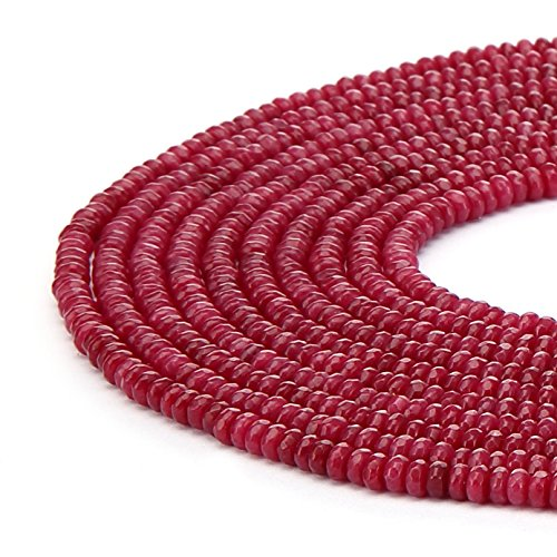 BRCbeads Ruby Color Jade Gemstone Faceted Rondelle Loose Beads 4x6mm Approxi 15.5 inch 95pcs 1 Strand per Bag for Jewelry Making