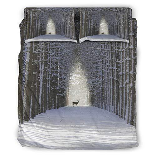 Juego de ropa de cama de 4 piezas, diseño de alce, ciervo, nieve, bosque, impresión ultrasuave, funda de edredón y funda de almohada, 175 x 218 cm, color blanco