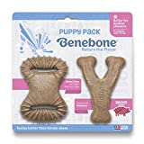 Benebone Puppy 2-Pack Dental Chew/Wishbone Dog Chew Toys, Made in USA, Real Bacon Flavor