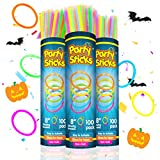 PartySticks Glow Sticks Bulk Party Favors 300pk with Connectors - 8 Inch Glow in the Dark Party…