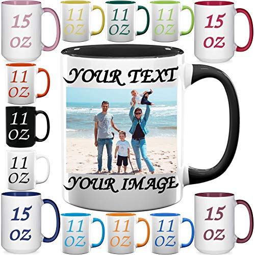 Custom Coffee Mugs - Personalized Ceramic Cups with Text, Picture, Logo, Image - 11 & 15 oz