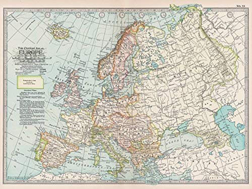 Historic Pictoric Map - Europe 1914 - Century Atlas World - Vintage Poster Art Reproduction - 24in x 18in