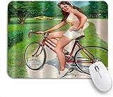 Benutzerdefiniertes Büro Mauspad,Europäischer Mädchen-Fahrrad-weißer Bikini,Anti-slip Rubber Base Gaming Mouse Pad Mat