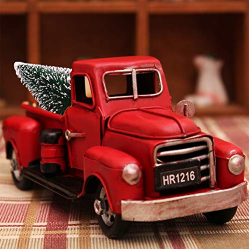 Lalone Model Car Pick-Up Truck with Christmas Tree Red Christmas Tree Decoration Exquisite Home Decoration Christmas Tree Pendant