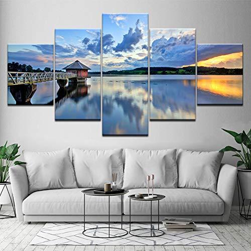 MMLFY 5 canvas foto's canvas muurkunst foto's 5 stuks paviljoen aan zee schilderij HD afdrukken meer natuurlijke poster modulaire wooncultuur