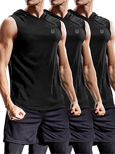 Neleus 3 Pack Workout Athletic Gym Muscle Tank Top with Hoods,5036,Black,US L,EU XL